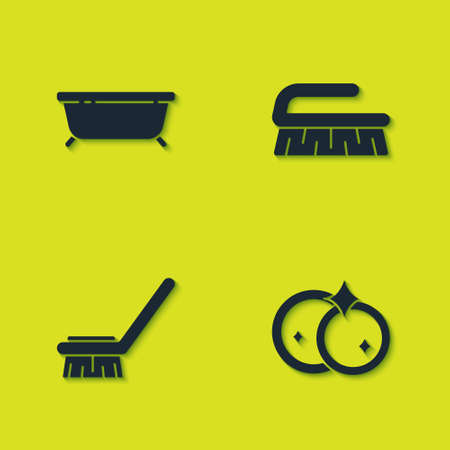 Set Bathtub, Washing dishes, Brush for cleaning and icon. Vector