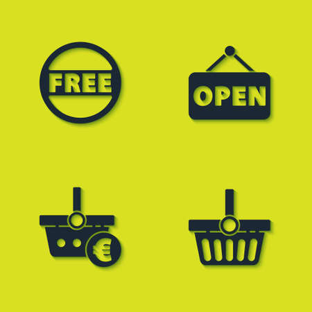 Set Price tag with Free, Shopping basket, and euro and Hanging sign Open icon. Vector
