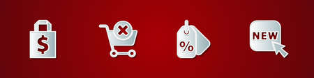 Set Shoping bag and dollar, Remove shopping cart, Discount percent tag and Button with text New icon. Vector 일러스트