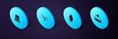 Set Isometric Winter hat, Canteen water bottle, Slingshot and Hiking backpack icon. Vector