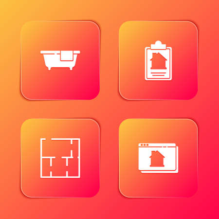 Set Bathtub, House contract, plan and Online real estate house icon. Vector