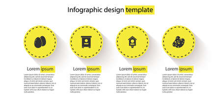 Set Chicken egg, Hive for bees, Bird house and Potato. Business infographic template. Vector