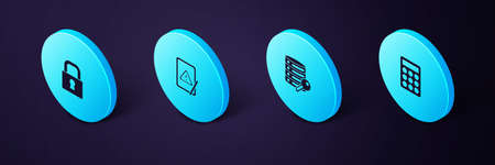 Set Isometric Password protection, Server security with key, Tablet exclamation mark and Lock icon. Vector 일러스트