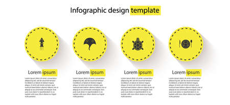 Set Octopus, Stingray, Turtle and Served crab on plate. Business infographic template. Vector
