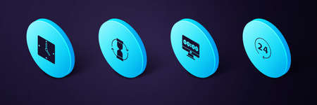 Set Isometric Clock 24 hours, on monitor, Old hourglass and icon. Vector 일러스트