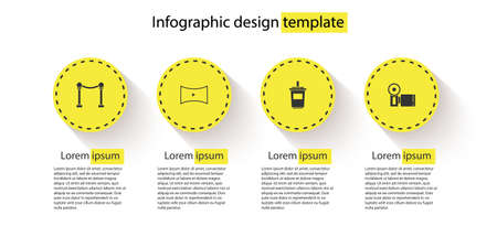 Set Rope barrier, Online play video, Paper glass with water and Cinema camera. Business infographic template. Vector