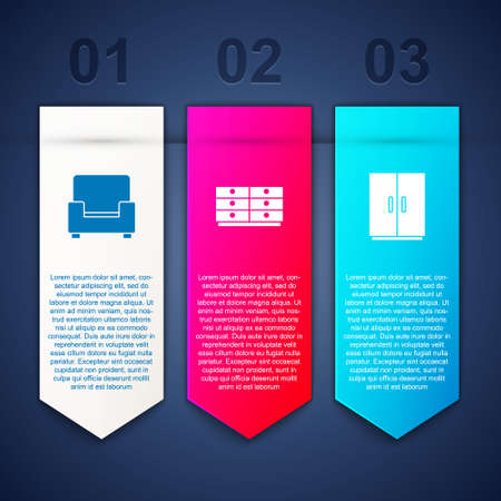 Set Armchair, Chest of drawers and Wardrobe. Business infographic template. Vector