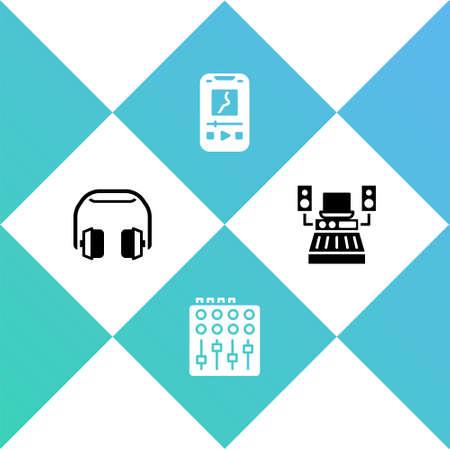 Set Headphones, Sound mixer controller, Music player and recording studio icon. Vector 일러스트