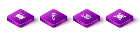 Set Isometric Stereo speaker, Microphone, DJ remote and mixing music and icon. Vector 일러스트
