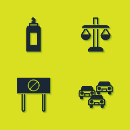 Set Paint spray can, Traffic jam, Protest and Scales of justice icon. Vector