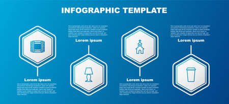 Set line Wooden barrel with rum, Table lamp, Church building and Coffee cup. Business infographic template. Vector 일러스트