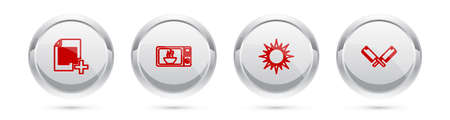 Set line Add new file, Microwave oven, Sun and Crossed meat chopper. Silver circle button. Vector