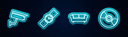 Set line Security camera, Wrist watch, Sofa and CD or DVD disk. Glowing neon icon. Vector