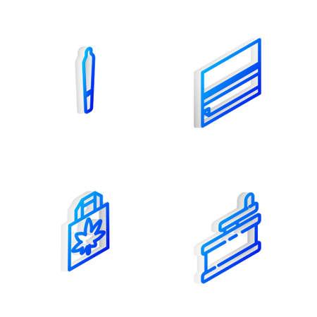 Set Isometric line Rolling paper, Marijuana joint, Shopping bag of marijuana and Manual grinder icon. Vector Vecteurs