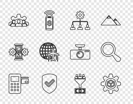 Set line Pos terminal, Product development, Lead management, Shield with check mark, Project team base, Globe flying plane, and Magnifying glass icon. Vector Vecteurs