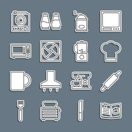 Set line Cookbook, Rolling pin, Chef hat, Manual coffee grinder, Ventilation, Microwave oven, Electric stove and Blender icon. Vector