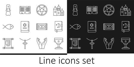 Set line Christian chalice, Holy book of Koran, Pentagram in circle, Jewish torah, fish, Priest, Traditional carpet and The commandments icon. Vector