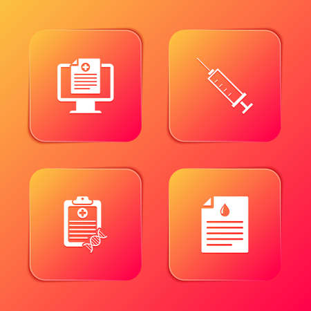 Set Clinical record on monitor, Syringe, Clipboard with DNA analysis and blood test icon. Vector Ilustração Vetorial