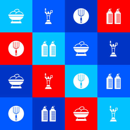 Set Varenyky in a bowl, Mother Motherland monument, Garden pitchfork and Two towers Dnipro icon. Vector