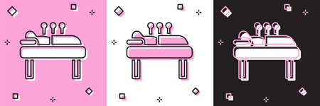 Set Acupuncture therapy icon isolated on pink and white, black background. Chinese medicine. Holistic pain management treatments. Vector