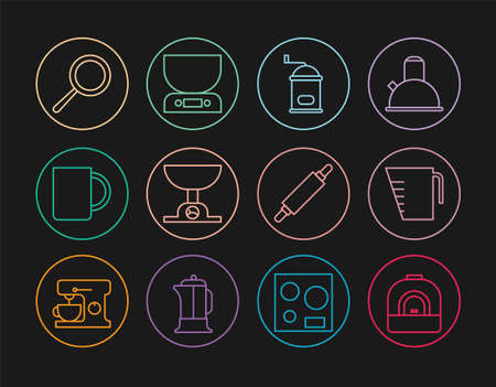 Set line Oven, Measuring cup, Manual coffee grinder, Electronic scales, Coffee, Frying pan, Rolling pin and icon. Vector Vecteurs