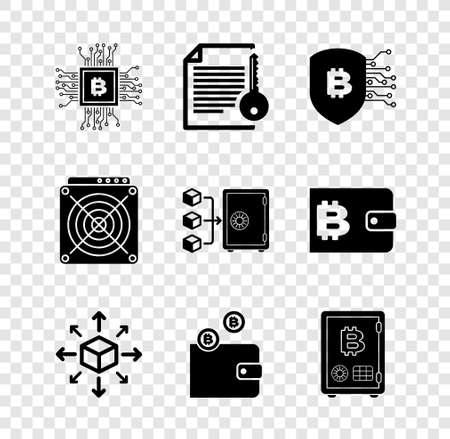 Set CPU mining farm, Smart contract, Shield with bitcoin, Distribution, Cryptocurrency wallet and Proof of stake icon. Vector