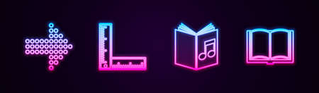 Set line Dots arrow, Folding ruler, Audio book and Open. Glowing neon icon. Vector