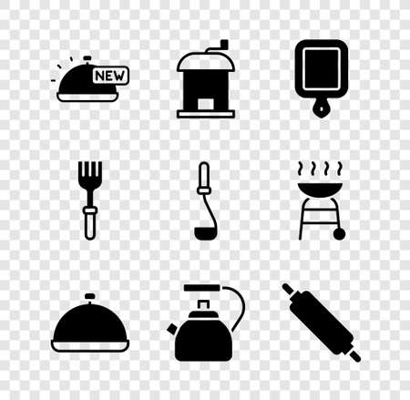 Set Covered with tray of food, Manual coffee grinder, Cutting board, Kettle handle, Rolling pin, Fork and Kitchen ladle icon. Vector
