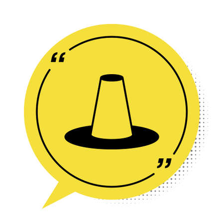 Black Traditional korean hat icon isolated on white background. Yellow speech bubble symbol. Vector