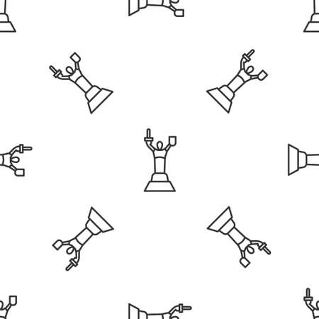 Grey line Mother Motherland monument in Kiev, Ukraine icon isolated seamless pattern on white background. Vector