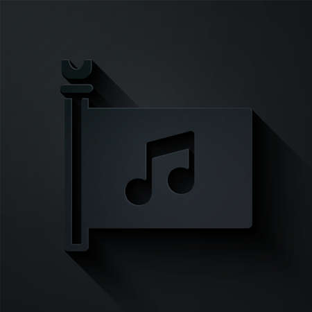 Paper cut Music festival, access, flag, music note icon isolated on black background. Paper art style. Vector