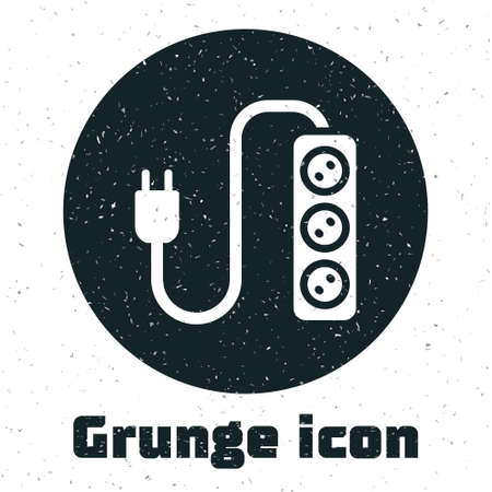 Grunge Electric extension cord icon isolated on white background. Power plug socket. Monochrome vintage drawing. Vector