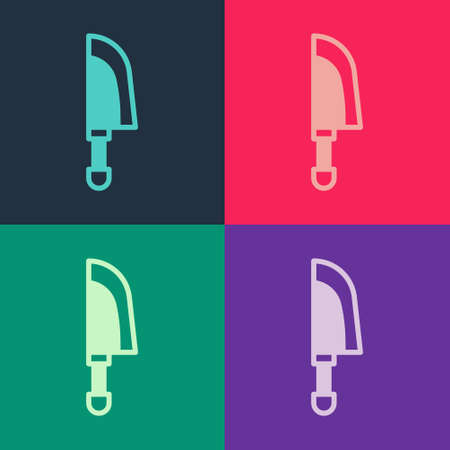 Pop art Knife icon isolated on color background. Cutlery symbol. Vector