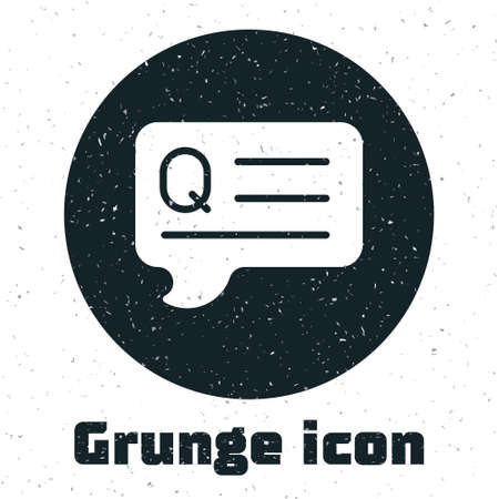 Grunge Speech bubbles with Question icon isolated on white background. FAQ sign. Chat speech bubble and chart. Monochrome vintage drawing. Vector
