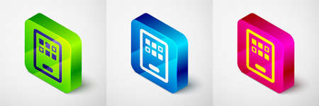 Isometric Graphic tablet icon isolated on grey background. Square button. Vector