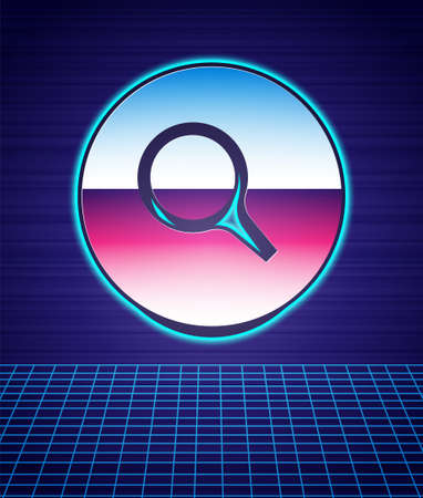 Retro style Magnifying glass icon isolated futuristic landscape background. Search, focus, zoom, business symbol. 80s fashion party. Vector Ilustração