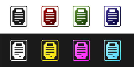 Set Certificate template icon isolated on black and white background. Achievement, award, degree, grant, diploma concepts. Vector