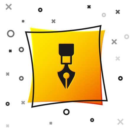 Black Fountain pen nib icon isolated on white background. Pen tool sign. Yellow square button. Vector Ilustração