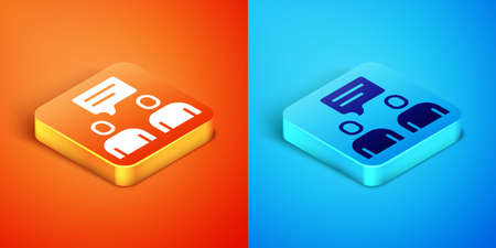 Isometric Two sitting men talking icon isolated on orange and blue background. Speech bubble chat. Message icon. Communication or comment chat symbol. Vector