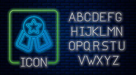 Glowing neon Medal with star icon isolated on brick wall background. Winner symbol. Neon light alphabet. Vector
