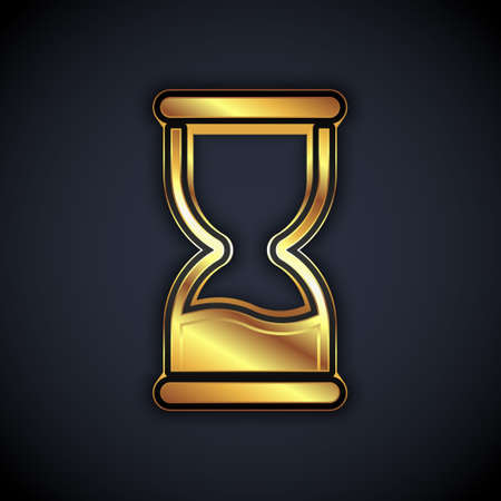 Gold Old hourglass with flowing sand icon isolated on black background. Sand clock sign. Business and time management concept. Vector