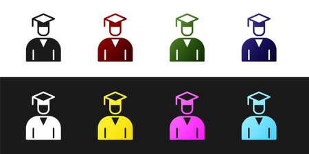 Set Graduate and graduation cap icon isolated on black and white background. Vector Ilustração