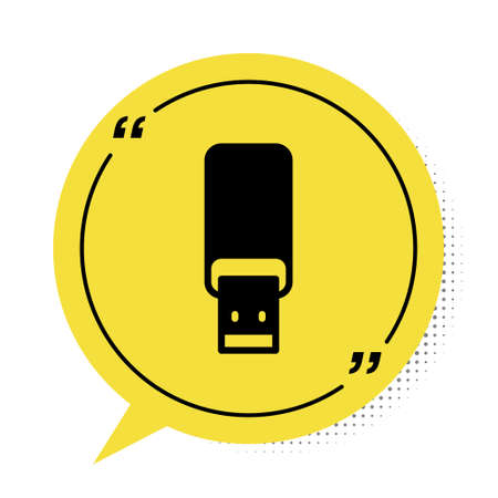 Black USB flash drive icon isolated on white background. Yellow speech bubble symbol. Vector