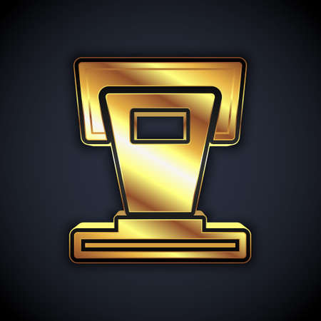 Gold Stage stand or debate podium rostrum icon isolated on black background. Conference speech tribune. Vector