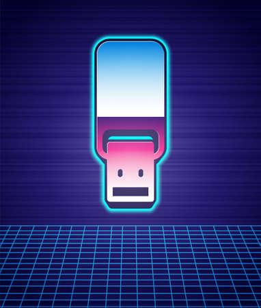 Retro style USB flash drive icon isolated futuristic landscape background. 80s fashion party. Vector