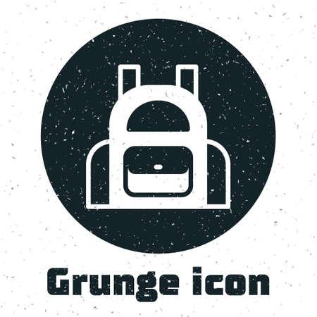Grunge School backpack icon isolated on white background. Monochrome vintage drawing. Vector Ilustração