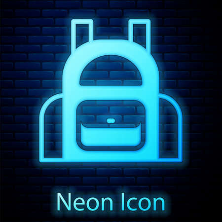 Glowing neon School backpack icon isolated on brick wall background. Vector