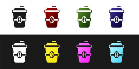 Set Coffee cup to go icon isolated on black and white background. Vector