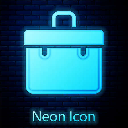 Glowing neon Briefcase icon isolated on brick wall background. Business case sign. Business portfolio. Vector Ilustração