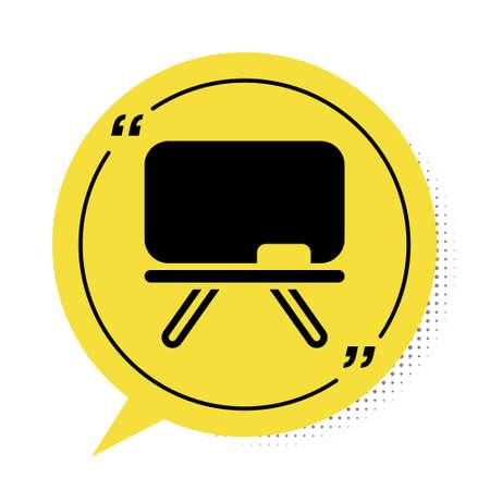 Black Chalkboard icon isolated on white background. School Blackboard sign. Yellow speech bubble symbol. Vector Ilustração